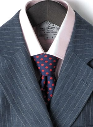 Navy Silk Tie with Red Spots