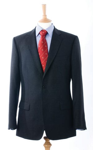 Elegant navy pure wool suit which looks and feels made-to-measure: save £150