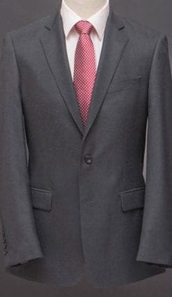 The well-tailored suit: Beautifully cut, hand-finished pure wool charcoal suit which looks made to measure