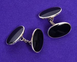 Sterling silver and black onyx chain link cufflinks