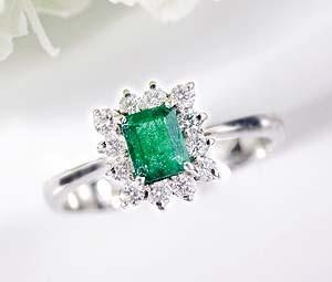The Octavia Emerald and Diamond Ring from Hatton Garden
