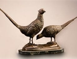 Bronze 'Cock and Hen Pheasant'