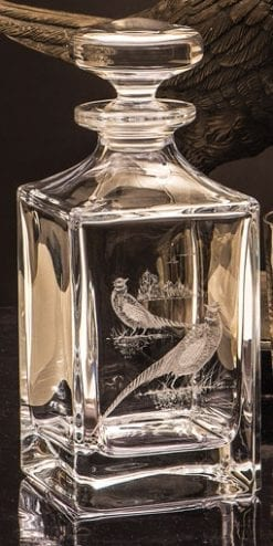 Royal Brierley Hand Engraved Crystal Decanter: Pheasant