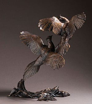 'Pheasants At Dawn' Limited Edition Bronze by Michael Simpson