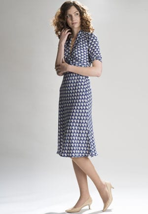 Nancy Mac Summer 2016 Collection: Paris fans, the Sable dress in navy and biscuit silk viscose crepe