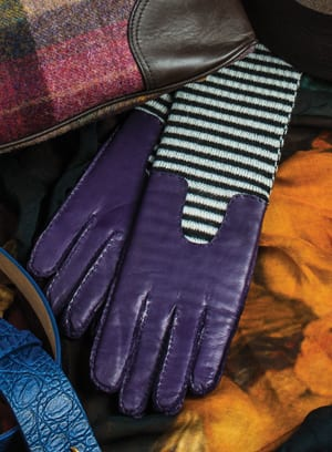 Show-stopping lambskin gloves with black and white stripes