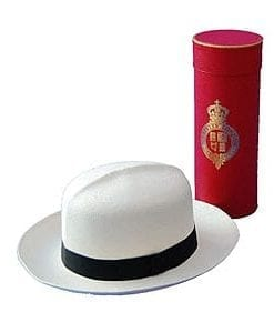 Proper Panama hat: the top-quality Superfine Folder (Grade 8) from Christy & Co: with gold embossed storage tube