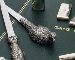 Handcast English pewter pheasant letter opener