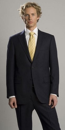 Pure wool navy pinstripe suit - saving £101