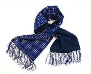 Elegant silk polka dot and lambswool scarf for men