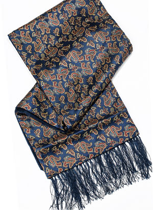 Regal paisley silk and plain wool scarf for gentlemen, a snip at £29