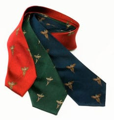 Pure silk woven tie: Pheasants in Flight