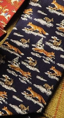 The Quarry Tie: pure silk fox and hare in snow