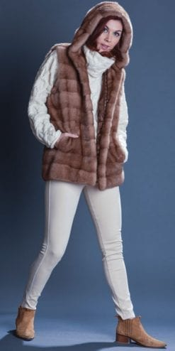 Fabulous new mink hooded gilet crafted by European couture furrier: save over £2,000