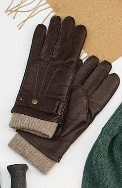 Fine deerskin and cashmere-wool lined men's gloves