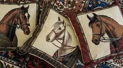 Smart new Flemish tapestry Racehorse cushions
