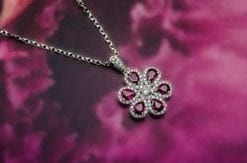 Precious Burmese ruby, diamond and 18ct white gold pendant