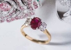 Fine Burmese ruby and diamond ring from Hatton Garden