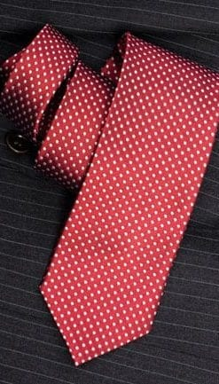 Smart dark red silk woven tie with grey spot