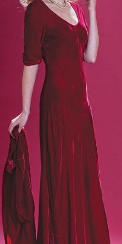 Velvet Revolution: the new Nancy Mac Collection: Sibi maxi dress in deep red velvet