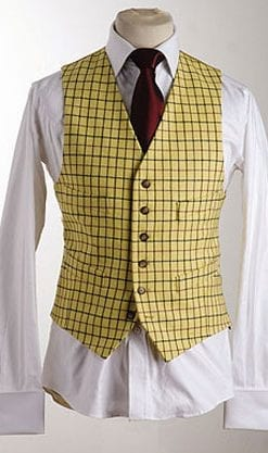 The classic pure wool doeskin yellow check waistcoat: just arrived