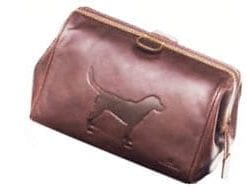 Members' favourite Italian leather Labrador wash bag by Tyler & Tyler