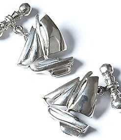 Handmade sterling silver yacht cufflinks by Martick of London