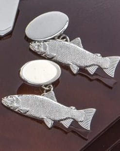 Precious links, handmade in sterling silver by an English craftsman: the salmon