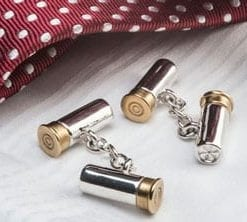 Fine English silver and gold shotgun cartridge cufflinks