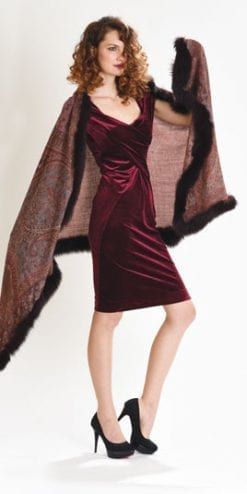 New Symphony Collection of fine merino shawls trimmed with fox fur: the Speranza