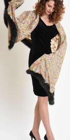 New Symphony Collection of fine merino shawls trimmed with fox fur: the Pastorale