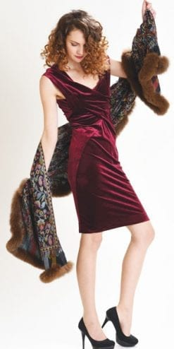 New Symphony Collection of fine merino shawls trimmed with fox fur: the Fantasia