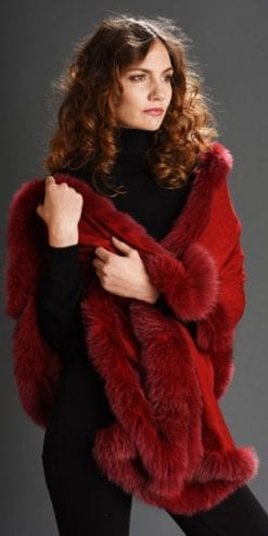 New Symphony Collection of fine merino shawls trimmed with fox fur: the Jupiter