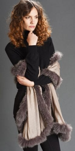 New Symphony Collection of fine merino shawls trimmed with fox fur: the Allegro