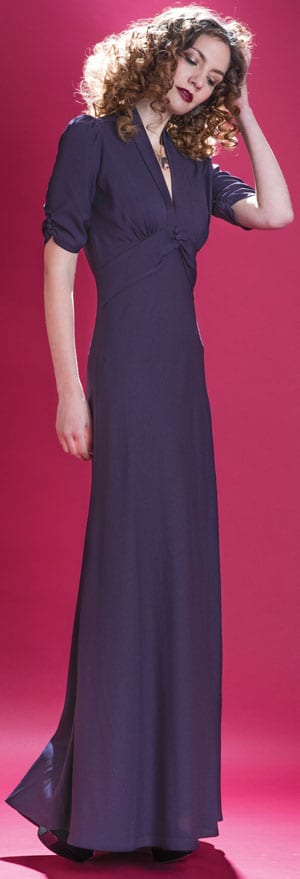 Velvet Revolution: the new Nancy Mac Collection: Sable maxi dress in currant crepe