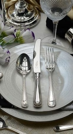 English silver, the ultimate cutlery: Canteen of Sovereign 60-piece Silver Plated Cutlery by Arthur Price