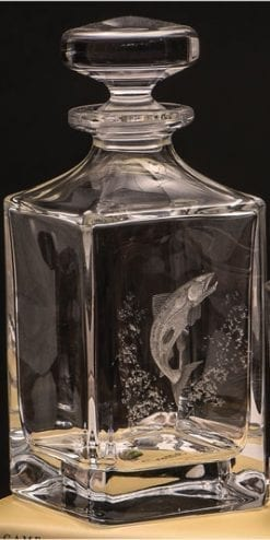 Superb Royal Brierley hand engraved crystal Leaping Salmon Decanter by Dartington Crystal