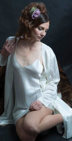 Sumptuous pure silk nightgown and slip by the famous Milan silk designers, Luna Di Seta