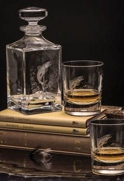 Superb hand engraved crystal Leaping Salmon Decanter and Pair of Tumblers by Dartington Crystal