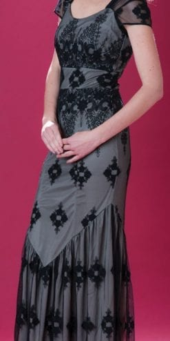 Velvet Revolution: the new Nancy Mac Collection: Sirene maxi dress in black lace and souchong