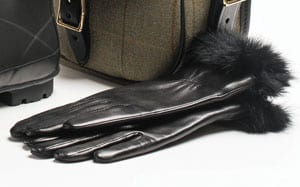 Soft leather gloves with rabbit fur trim by Southcombe of Somerset