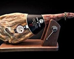 Top-notch Serrano Reserva Ham with traditional wooden carving stand and carving knife: amazingly good deal