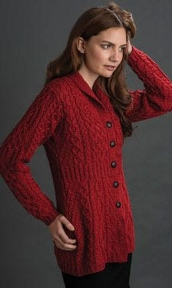 Shawl collar waisted Aran style cardigan-jacket in merino wool