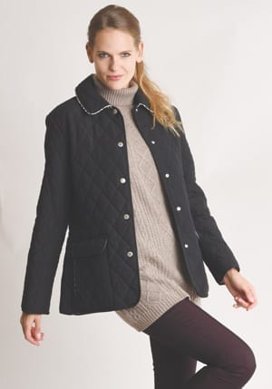 Super new Sandringham quilted jacket with smart check piping: seen in all the right circles!