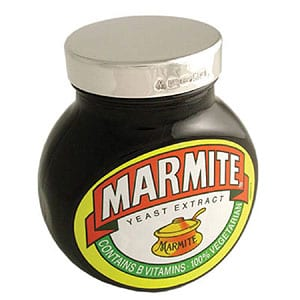 English sterling silver-lidded Marmite: 125g jar