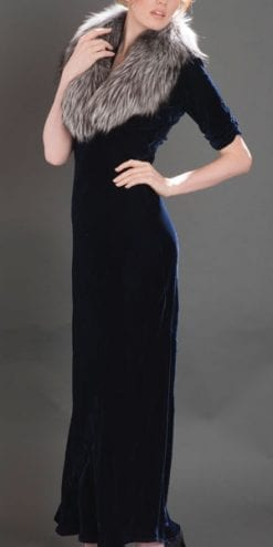 Floor-length and fabulous: the new velvet midnight blue silk velvet dress by Nancy Mac