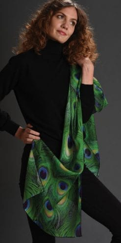 Silk Art: Pure silk chiffon Peacock Scarf by Fox and Chave