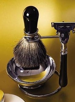 Gentlemen's shaving stand with brush and razor
