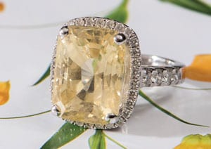 The Sundance Ring: Large 13.10 Carat Natural Yellow Sapphire, Diamond and 18ct White Gold