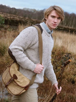 Classic shooting sweater in pure wool with leather gun patches, only £49